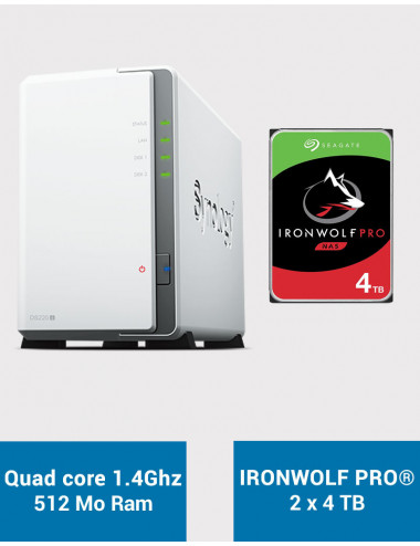 Synology DS220J Serveur NAS IRONWOLF PRO 8To (2x4To)
