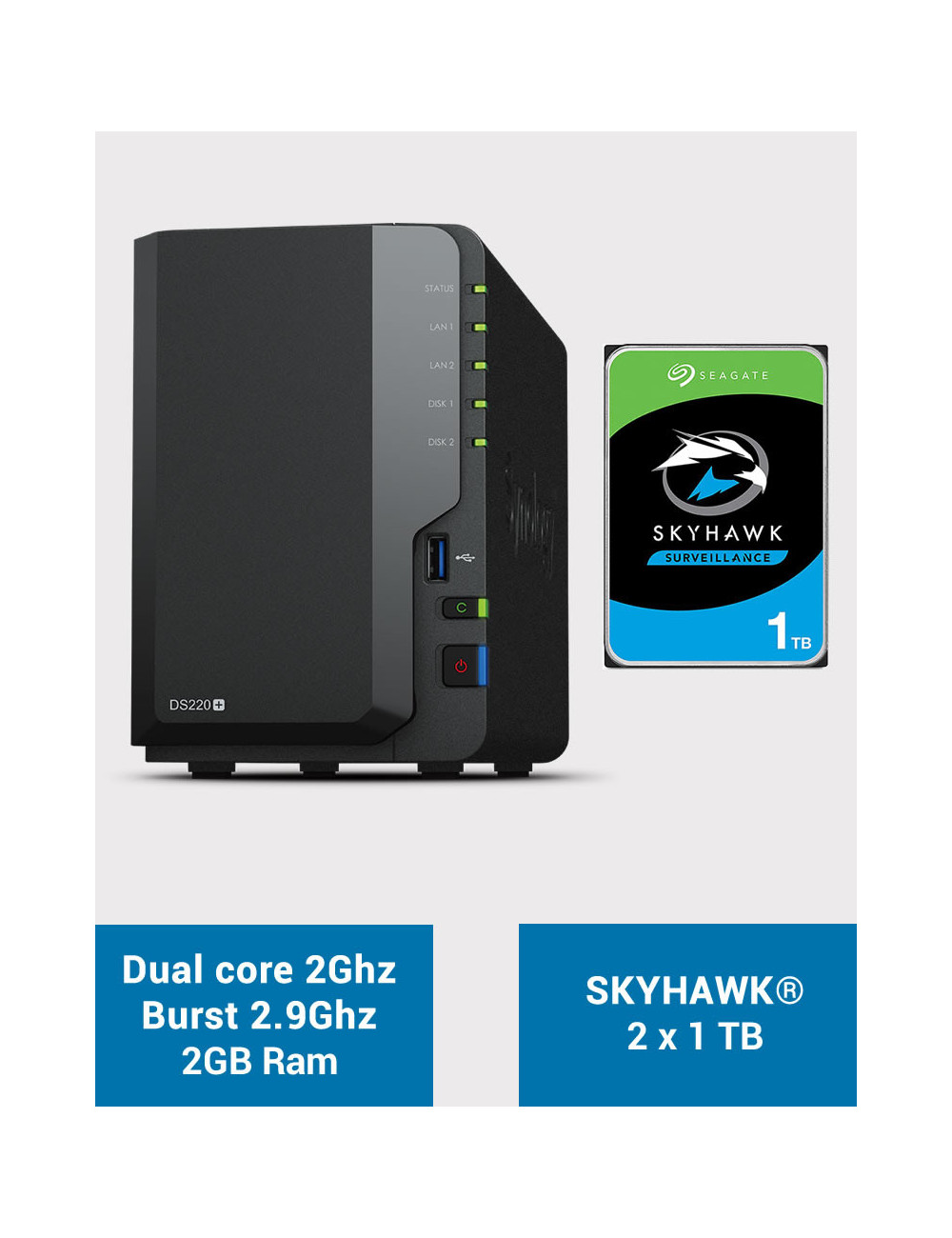 Synology DS220+ 2Go Serveur NAS SKYHAWK 2To (2x1To)