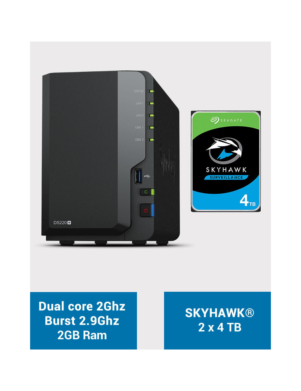 Synology DS220+ 2Go Serveur NAS SKYHAWK 8To (2x4To)