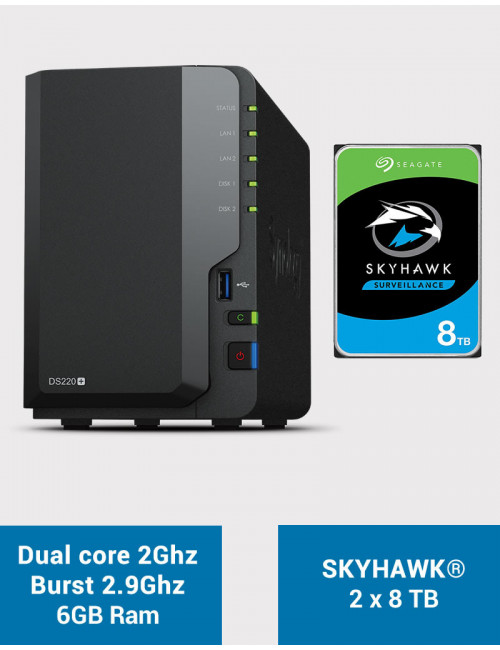 Synology DS220+ 6Go Serveur NAS SKYHAWK 16To (2x8To)