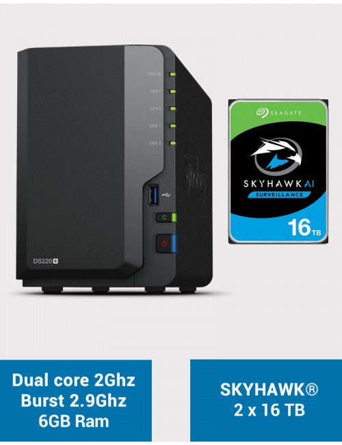 Synology DS220+ 6Go Serveur NAS SKYHAWK 32To (2x16To)