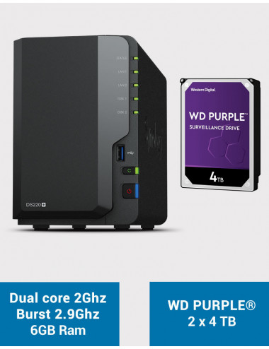 Synology DS220+ 6Go Serveur NAS WD PURPLE 8To (2x4To)