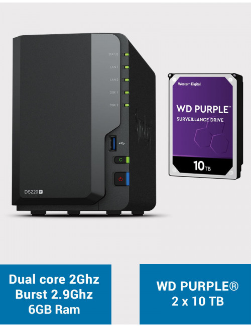 Synology DS220+ 6Go Serveur NAS WD PURPLE 20To (2x10To)