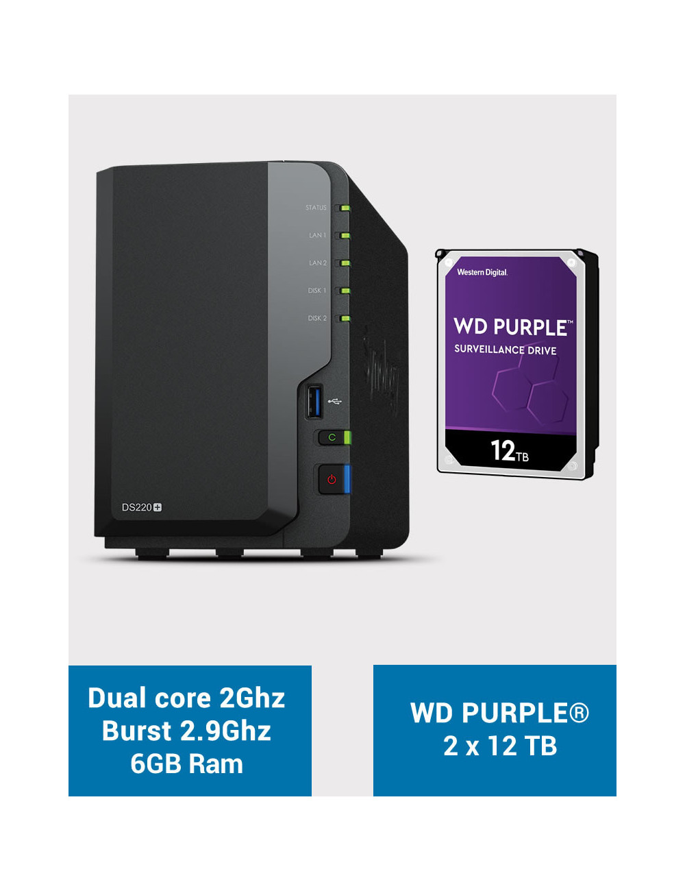 Synology DS220+ 6Go Serveur NAS WD PURPLE 24To (2x12To)