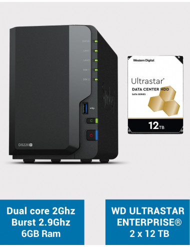 Synology DS220+ 6Go Serveur NAS WD ULTRASTAR ENTERPRISE 24To (2x12To)