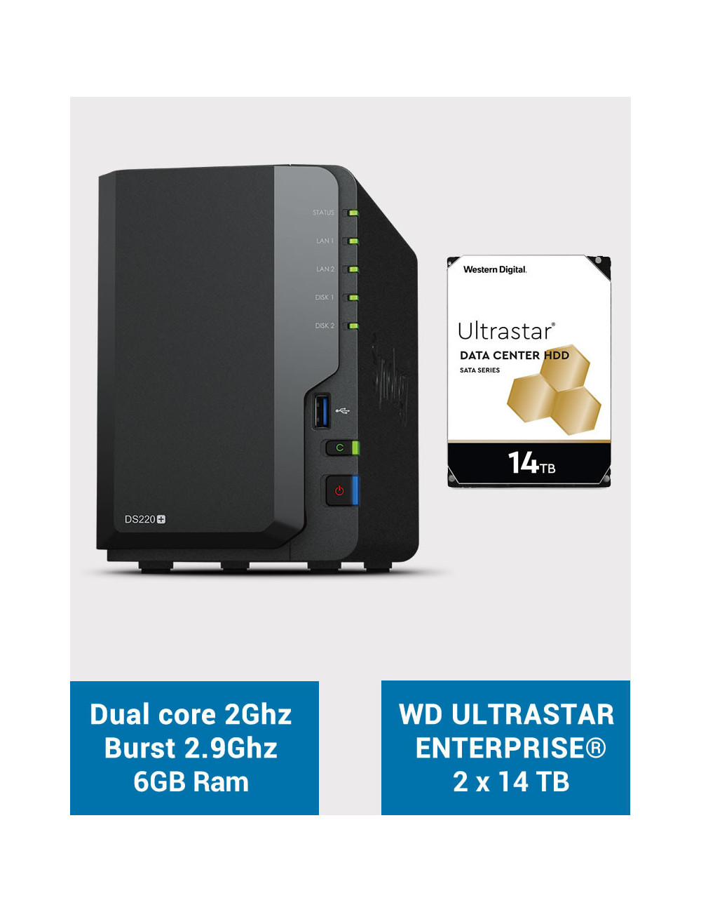 Synology DS220+ 6Go Serveur NAS WD ULTRASTAR ENTERPRISE 28To (2x14To)