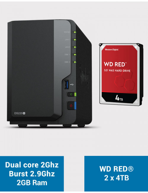 Synology DS220+ 2GB NAS Server WD RED 8TB (2x4TB)