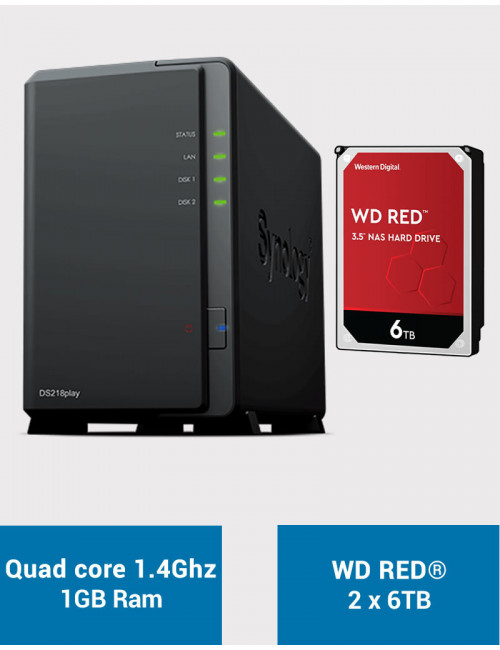 Synology DS218PLAY NAS Server WD RED 12TB (2x6TB)