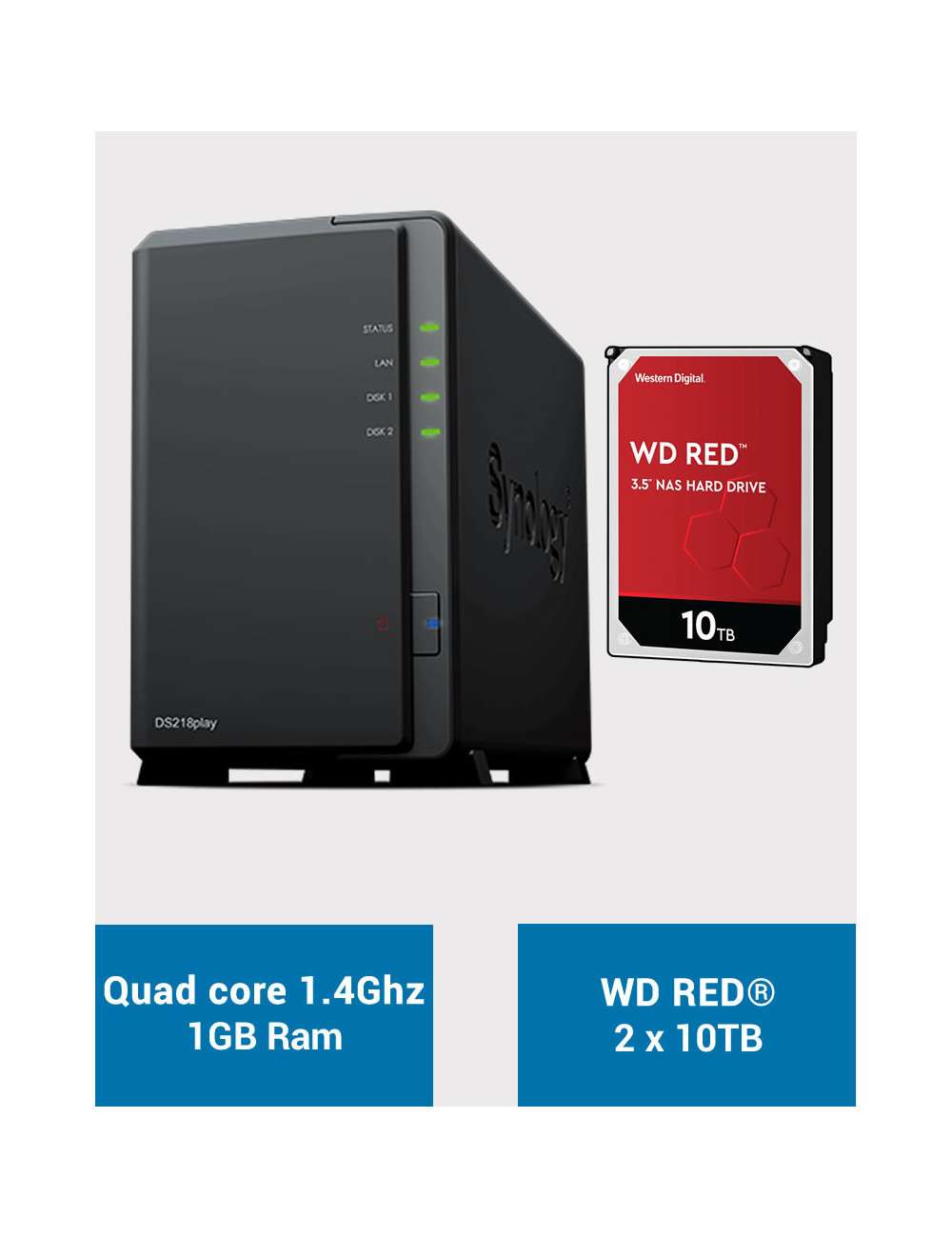 Synology DS218PLAY NAS Server WD RED 20TB (2x10TB)