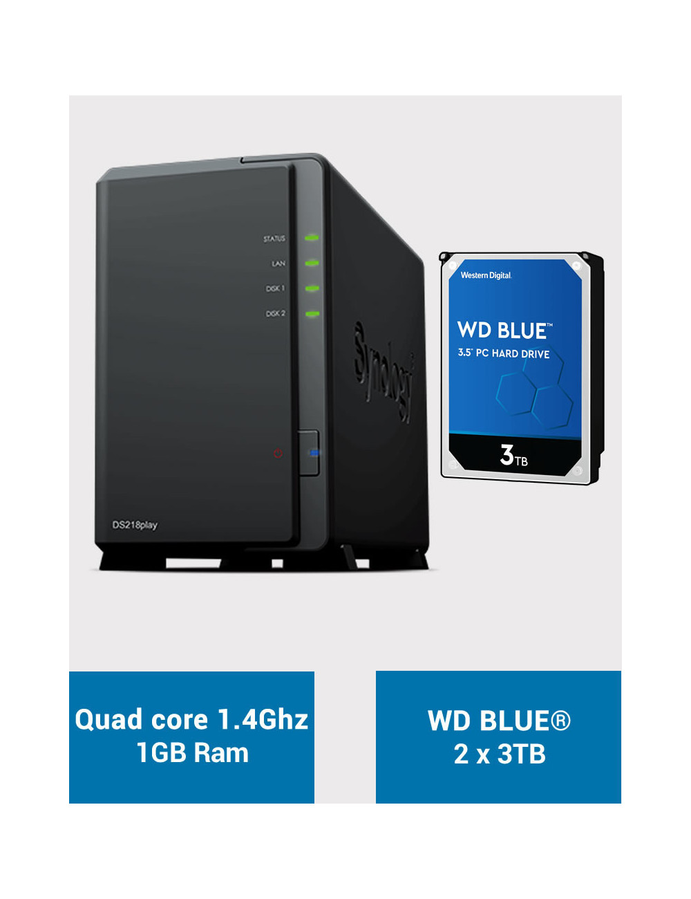 Synology DS218PLAY Serveur NAS WD BLUE 6To (2x3To)