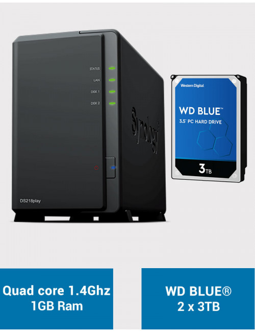 Synology DS218PLAY NAS Server WD BLUE 6TB (2x3TB)