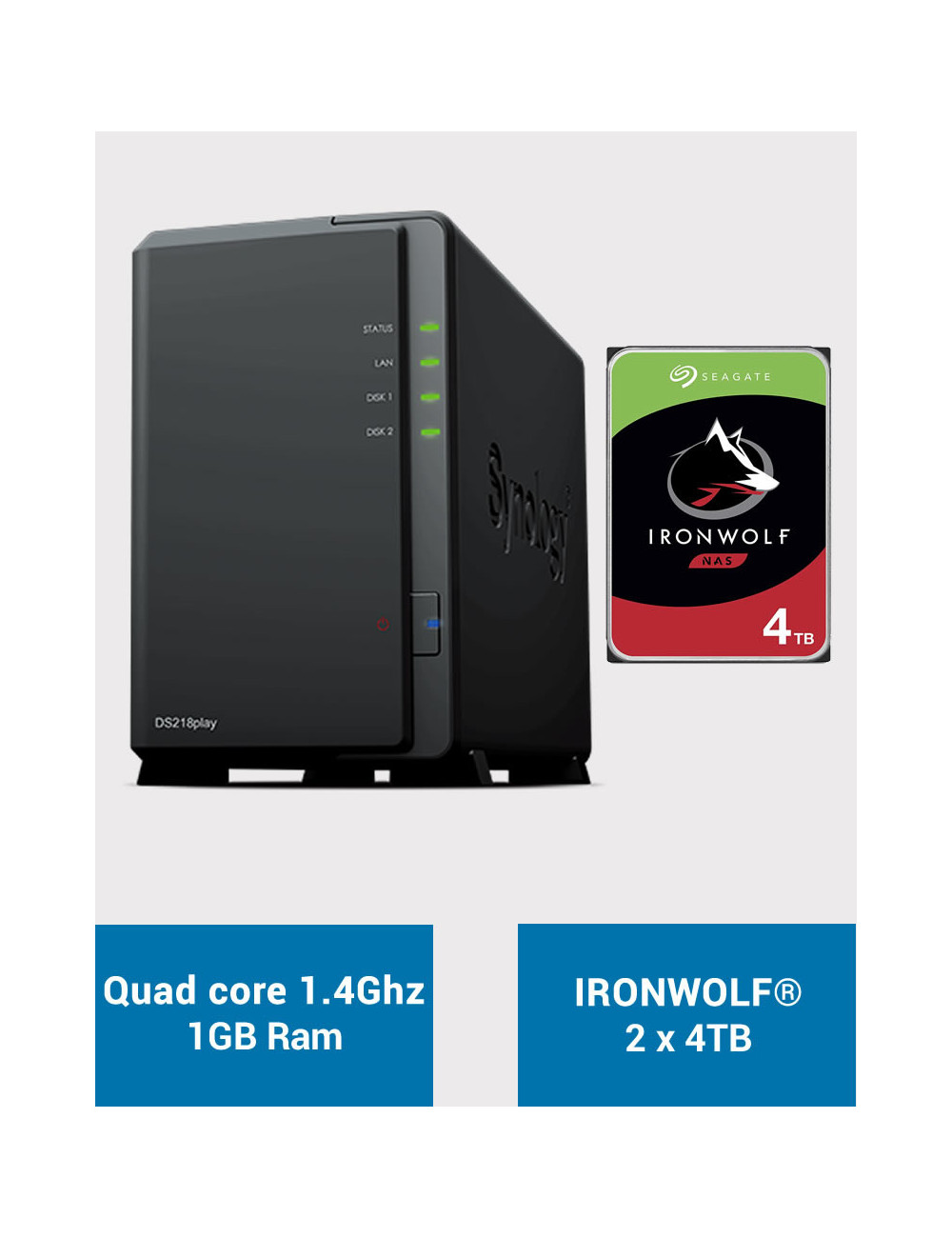Synology DS218PLAY Serveur NAS IRONWOLF 8To (2x4To)