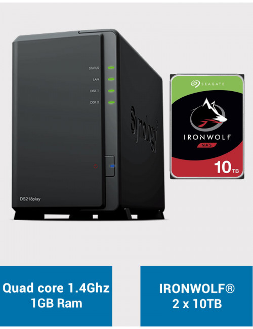 Synology DS218PLAY NAS Server IRONWOLF 20TB (2x10TB)