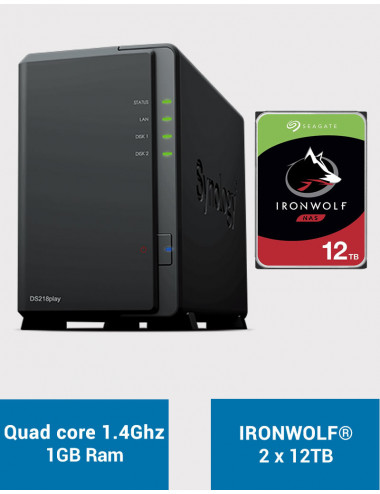 Synology DS218PLAY NAS Server IRONWOLF 24TB (2x12TB)