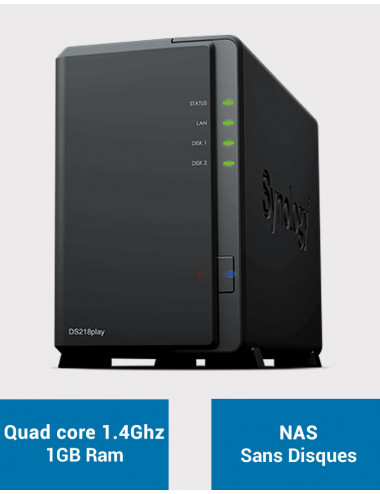 Synology DS218PLAY Server NAS (No disk)