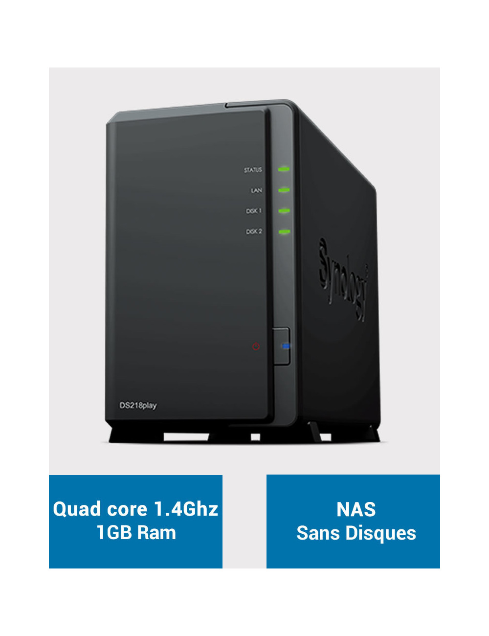 Synology DS218PLAY Serveur NAS (Sans disque)
