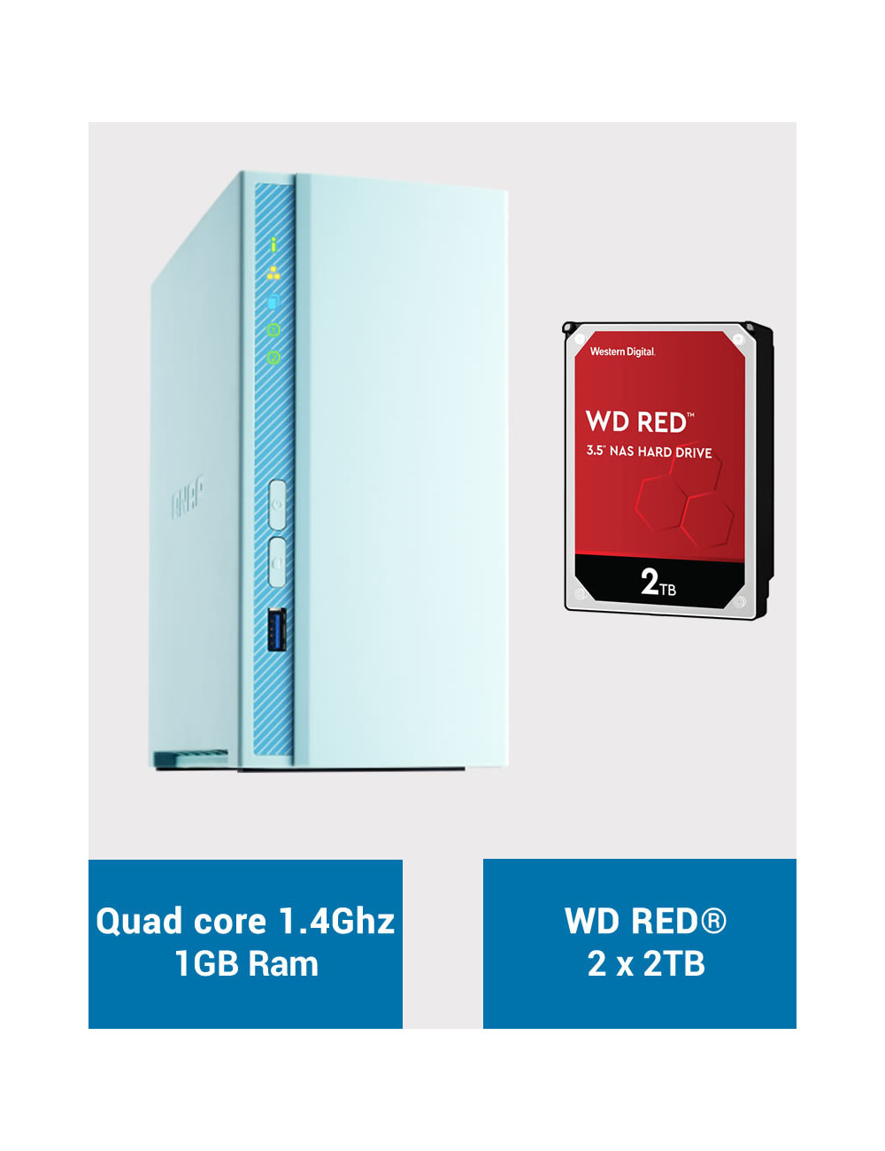 QNAP TS-230 Serveur NAS WD RED 4To (2x2To)
