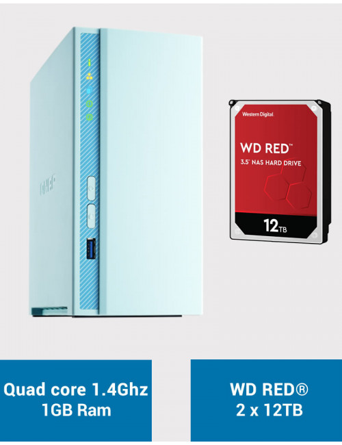 QNAP TS-230 Serveur NAS WD RED 24To (2x12To)