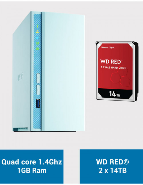 QNAP TS-230 Serveur NAS WD RED 28To (2x14To)