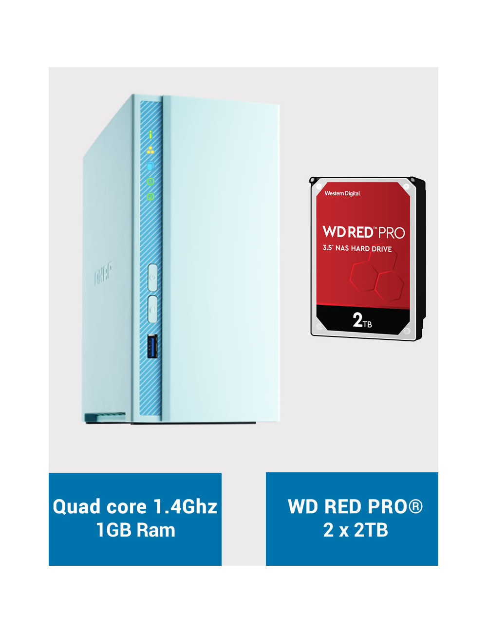 QNAP TS-230 Serveur NAS WD RED PRO 4To (2x2To)