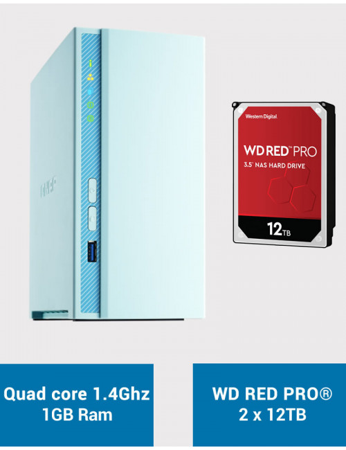 QNAP TS-230 Serveur NAS WD RED PRO 24To (2x12To)