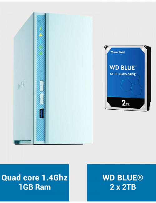 QNAP TS-230 Serveur NAS WD BLUE 4To (2x2To)