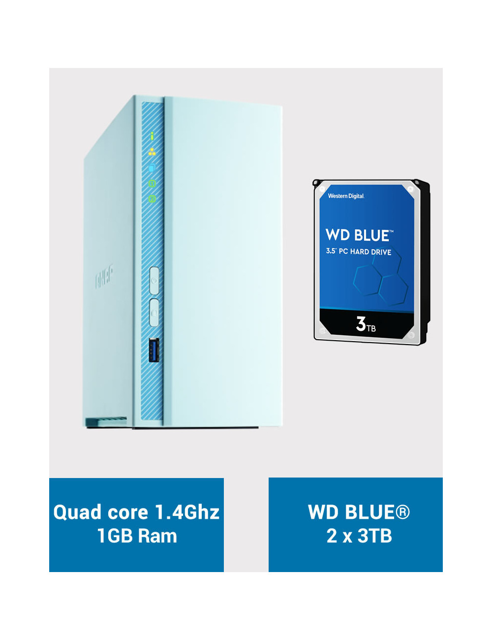 QNAP TS-230 Serveur NAS WD BLUE 6To (2x3To)
