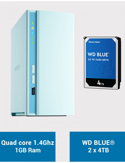 QNAP TS-230 Serveur NAS WD BLUE 8To (2x4To)