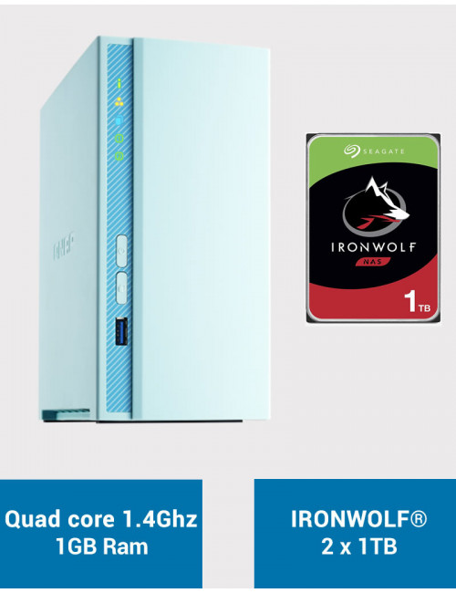 QNAP TS-230 Serveur NAS IRONWOLF 2To (2x1To)