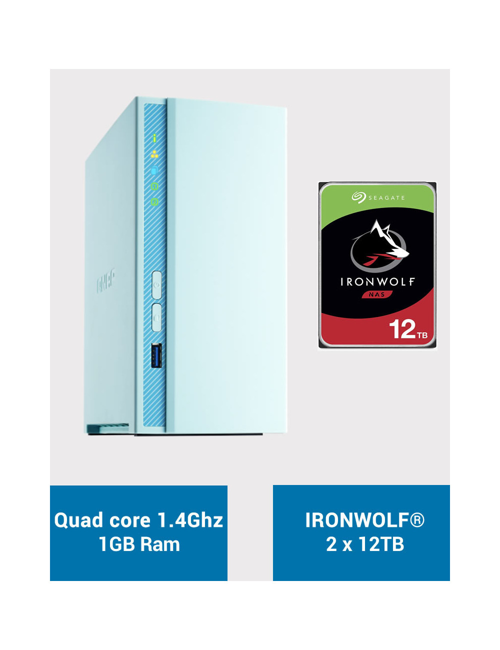 QNAP TS-230 Serveur NAS IRONWOLF 24To (2x12To)