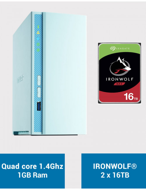 QNAP TS-230 Serveur NAS IRONWOLF 32To (2x16To)
