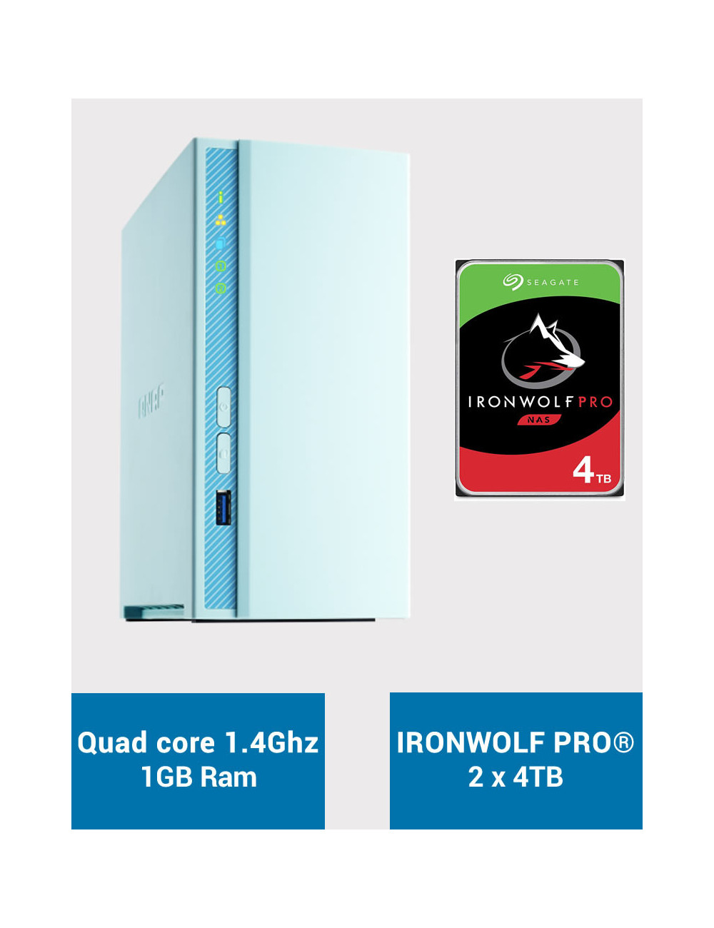 QNAP TS-230 Serveur NAS IRONWOLF PRO 8To (2x4To)