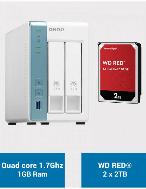 QNAP TS-231K Serveur NAS WD RED 4To (2x2To)
