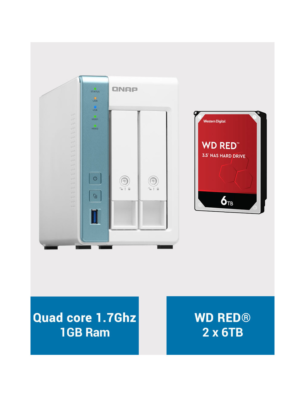 QNAP TS-231K Serveur NAS WD RED 12To (2x6To)