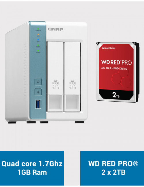 QNAP TS-231K Serveur NAS WD RED PRO 4To (2x2To)