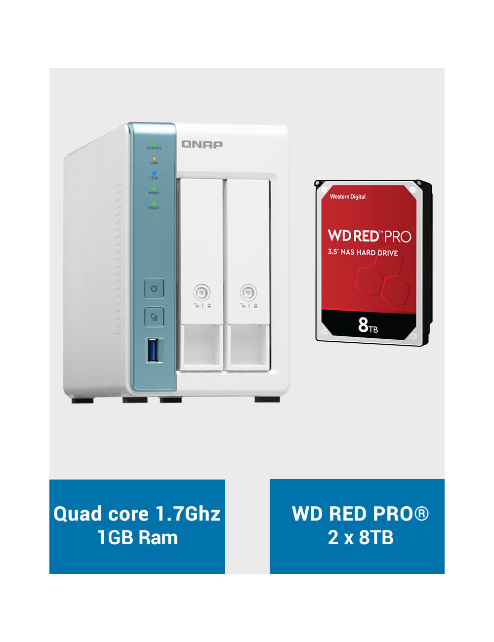 QNAP TS-231K Serveur NAS WD RED PRO 16To (2x8To)