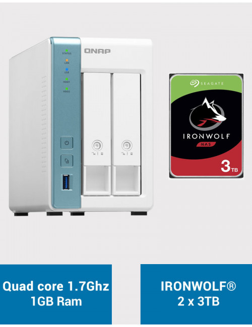 QNAP TS-231K Serveur NAS IRONWOLF 6To (2x3To)