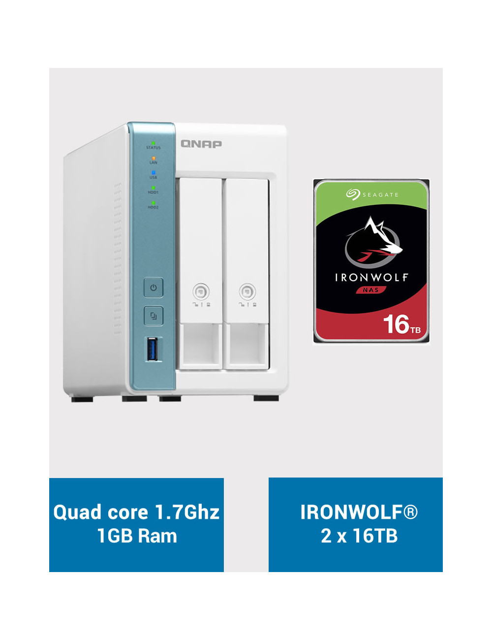QNAP TS-231K Serveur NAS IRONWOLF 32To (2x16To)