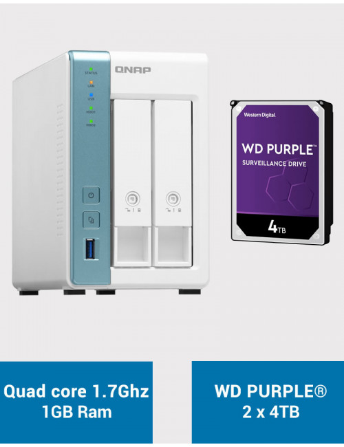 QNAP TS-231K Serveur NAS WD PURPLE 8To (2x4To)