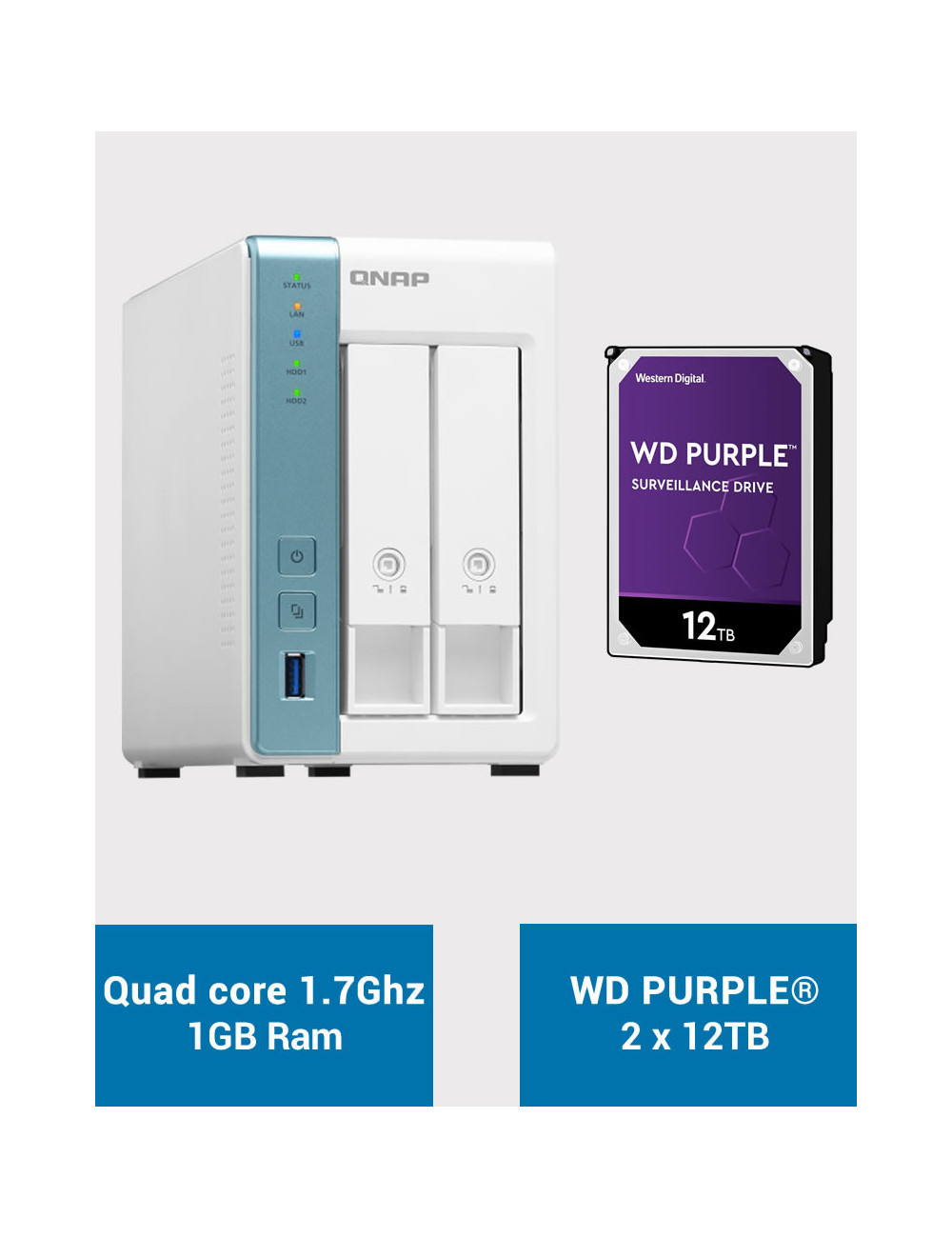 QNAP TS-231K Serveur NAS WD PURPLE 24To (2x12To)