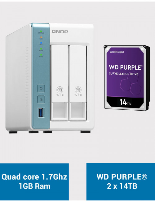 QNAP TS-231K Serveur NAS WD PURPLE 28To (2x14To)