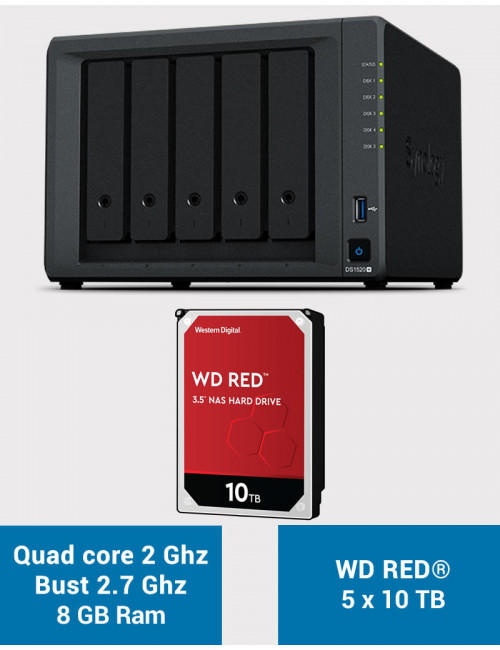 Synology DS1520+ 8GB Serveur NAS WD RED 50To (5x10To)