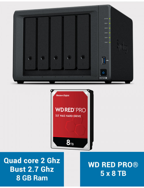 Synology DS1520+ 8GB Serveur NAS WD RED PRO 40To (5x8To)