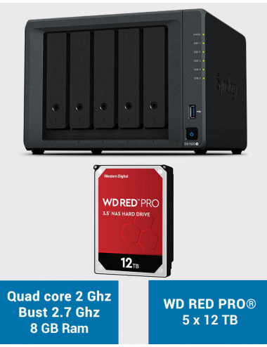 Synology DS1520+ 8GB Serveur NAS WD RED PRO 60To (5x12To)