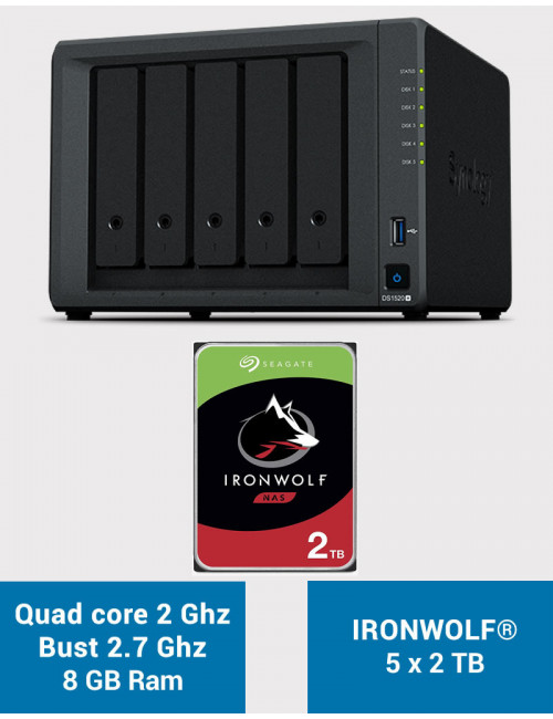 Synology DS1520+ 8GB Serveur NAS IRONWOLF 10To (5x2To)