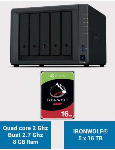Synology DS1520+ 8GB Serveur NAS IRONWOLF 80To (5x16To)
