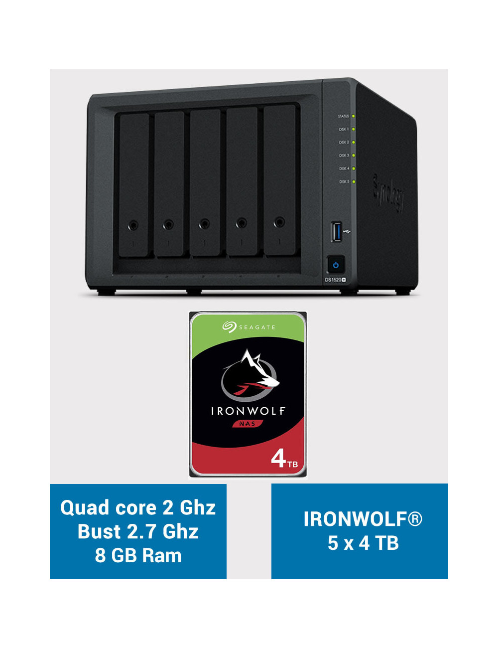 Synology DS1520+ 8GB Serveur NAS IRONWOLF 20To (5x4To)