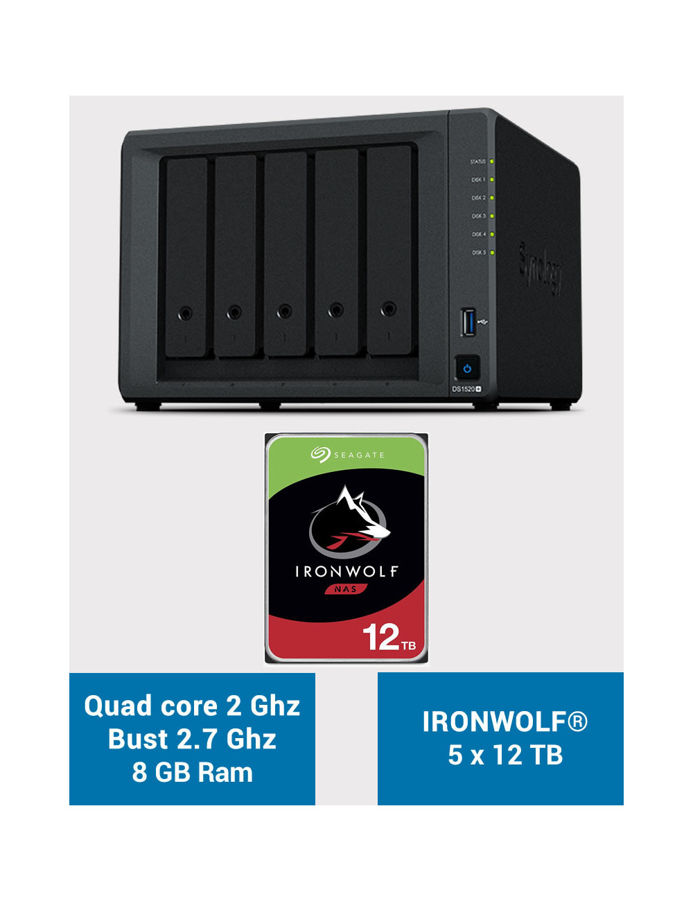 Synology DS1520+ 8GB Serveur NAS IRONWOLF 60To (5x12To)