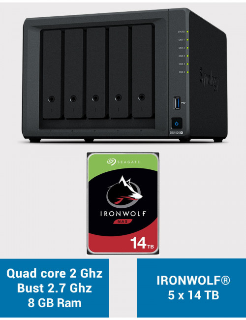 Synology DS1520+ 8GB Serveur NAS IRONWOLF 70To (5x14To)