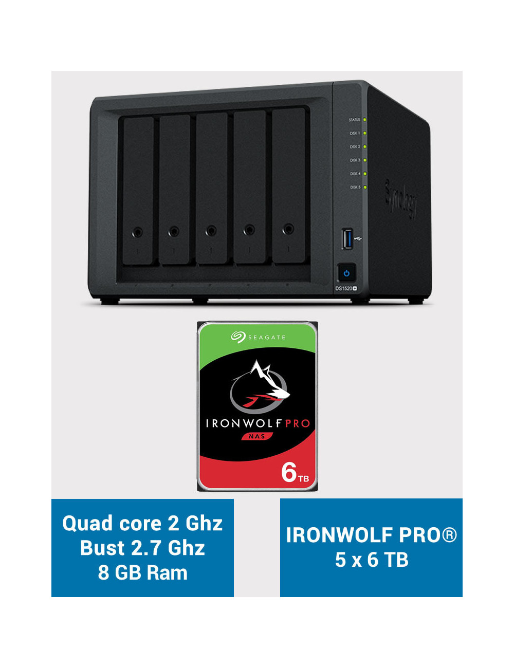 Synology DS1520+ 8GB Serveur NAS IRONWOLF PRO 30To (5x6To)